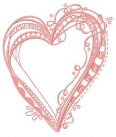 Ribbon heart embroidery design 2