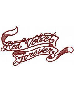 Ribbon red velvet forever embroidery design