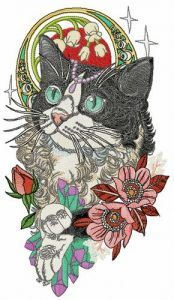 Rich black and white cat embroidery design