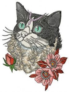 Rich curly cat embroidery design