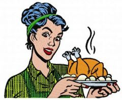 Roast turkey embroidery design
