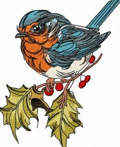 Robin on branch of holly 3 embroidery design