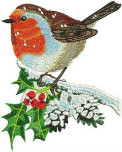 Robin on holly branch embroidery design