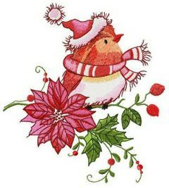 Robin waiting for Christmas embroidery design