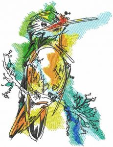 Robin watercolor drawing embroidery design