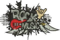 Rock music machine embroidery design