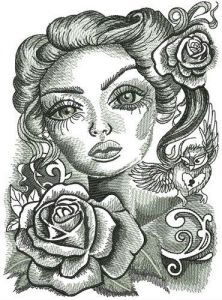 Romantic beauty with big eyes embroidery design