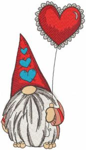 Romantic dwarf with red balloon embroidery design