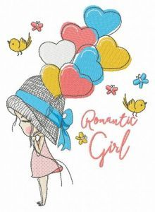 Romantic girl embroidery design
