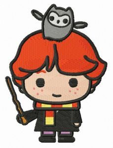 Ron Weasley with Pigwidgeon embroidery design