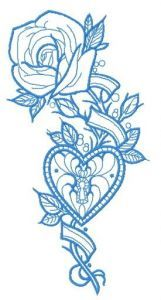 Rose and locked heart one color embroidery design