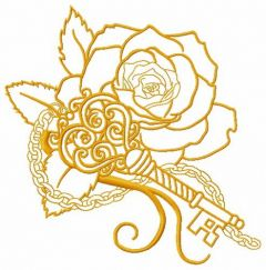 Rose and vintage key 4 embroidery design