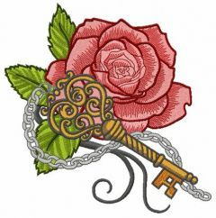 Rose and vintage key embroidery design