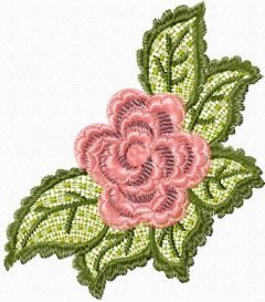 Rose lace embroidery design