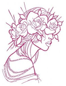 Rose wreath one color embroidery design