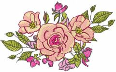 Roses bouquet decor embroidery design
