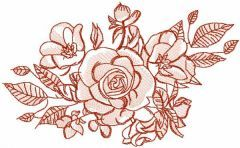 Roses bouquet vintage free embroidery design