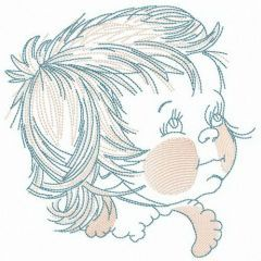 Rosy-cheeked baby embroidery design