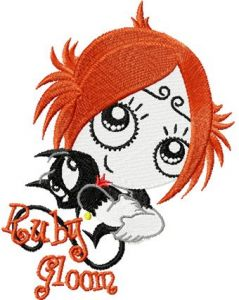 Ruby Gloom with Kitty 2 embroidery design