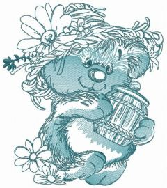 Rustic bear with honey pot 2 embroidery design