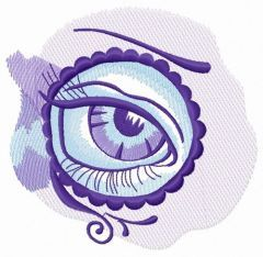 Sad eye in circle embroidery design