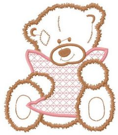 Sad teddy applique embroidery design