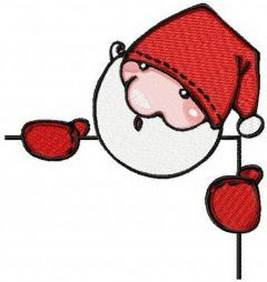 Santa behind a corner embroidery design