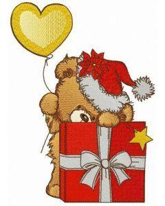Santa gave present embroidery design