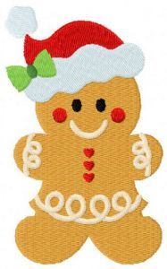 Santa Claus gingerbread embroidery design