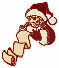 Santa with list of good children 2 embroidery design