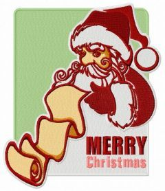 Santa with list of good children embroidery design