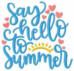 Say hello to summer embroidery design