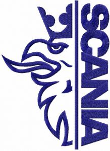 Scania one color logo embroidery design