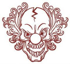 Scary clown embroidery design