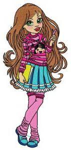 Schoolgirl embroidery design