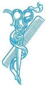 Scissors and comb embroidery design