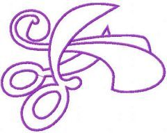 Violet scissors embroidery design