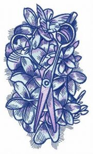 Scissors lost in flower bed embroidery design