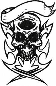 Pirate scull embroidery design