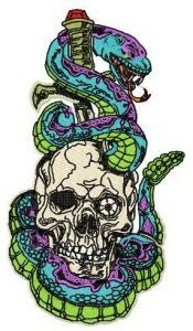 Scull, sword, snake embroidery design