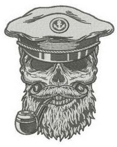 Sea dog's skull embroidery design