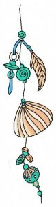 Sea shell decoration machine embroidery design 3