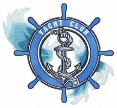 Sea waves and yacht club embroidery design