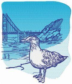 Seagull near bridge embroidery design