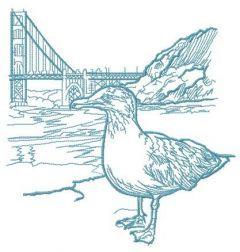 Seagull near bridge sketch embroidery design