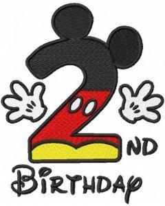 Second birthday Mickey embroidery design