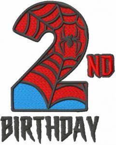 Second spiderman birthday embroidery design