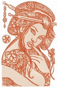 Seductive geisha embroidery design