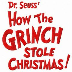Dr. Seuss How the Grinch stole Christmas embroidery design