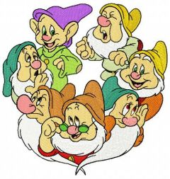 Seven dwarfs embroidery design